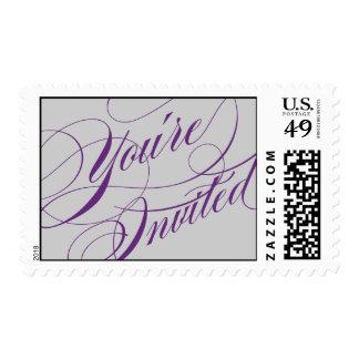 Elegant Script Wedding Postage - Purple & Gray