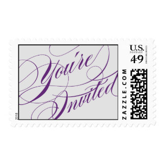 Elegant Script Wedding Postage - Purple & Gray