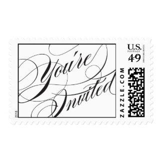 Elegant Script Wedding Postage Stamp - Black