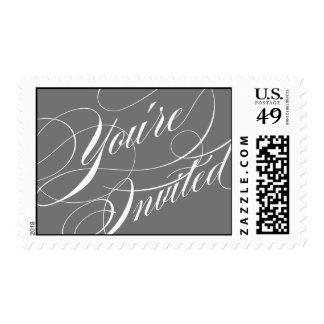 Elegant Script Wedding Postage Stamp - Gray