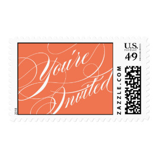 Elegant Script Wedding Postage Stamp - Orange