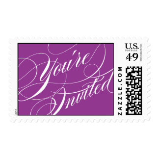 Elegant Script Wedding Postage Stamp - Purple