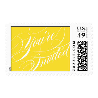 Elegant Script Wedding Postage Stamp - Yellow