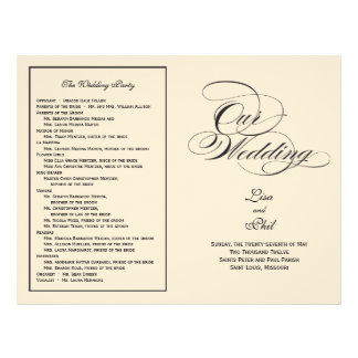Elegant Script Wedding Program - Black & Off White