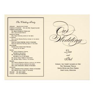 Elegant Script Wedding Program - Black & Off White Personalized Flyer