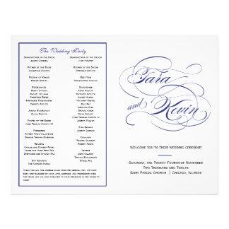 Elegant Script Wedding Program - Navy Flyers