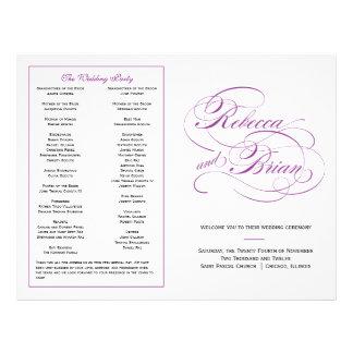 Elegant Script Wedding Program - Purple Custom Flyer