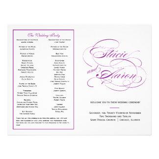 Elegant Script Wedding Program - Purple Personalized Flyer