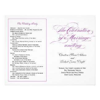 Elegant Script Wedding Program - Purple Flyer Design