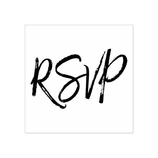 Elegant Script Wedding Rsvp Response Rubber Stamp