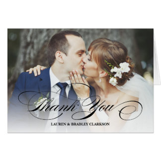 Elegant Script Wedding Thank You w. Photo Collage Card