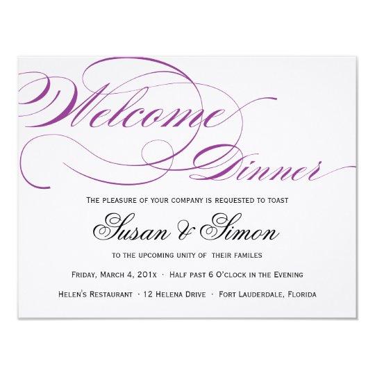 elegant script welcome dinner invitation purple  zazzle