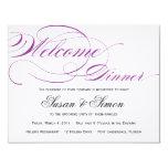 "Elegant Script Welcome Dinner Invitation Purple 4.25"" X 5.5"" Invitation Card"