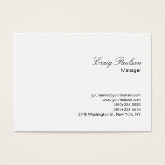 Elegant Script White Plain Chubby Business Card