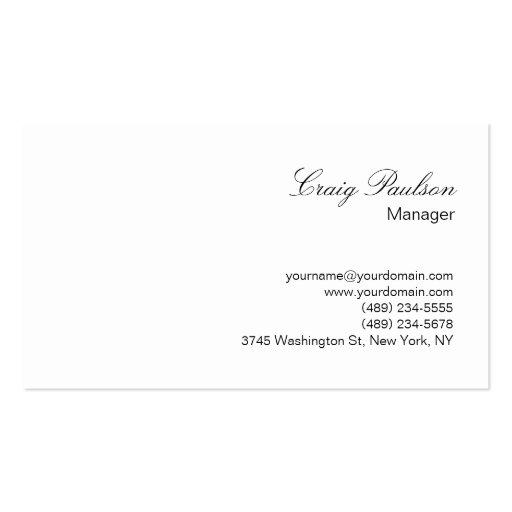 Elegant Script White Plain Simple Business Card