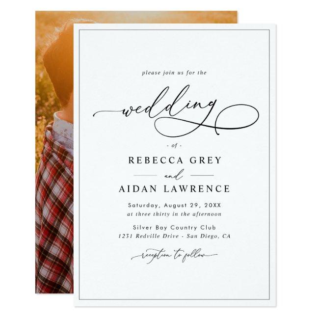 Elegant Script with Photo Back Wedding Invitation