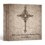 Elegant Scroll Christian Cross w/Swirl Background Binder