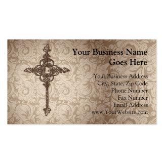 Elegant Scroll Christian Cross w/Swirl Background Business Card