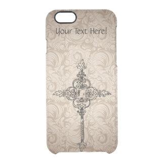 Elegant Scroll Christian Cross w/Swirl Background Clear iPhone 6/6S Case