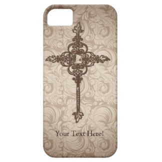 Elegant Scroll Christian Cross w/Swirl Background iPhone SE/5/5s Case