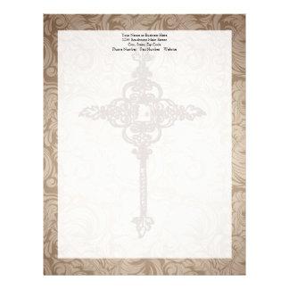 Elegant Scroll Christian Cross w/Swirl Background Letterhead