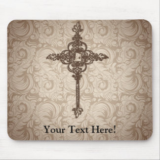 Elegant Scroll Christian Cross w/Swirl Background Mouse Pad