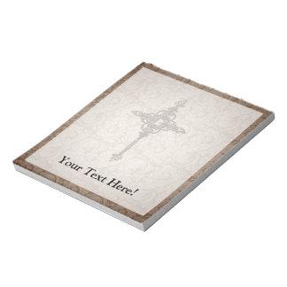 Elegant Scroll Christian Cross w/Swirl Background Memo Pad