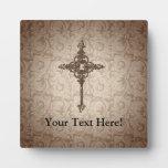 Elegant Scroll Christian Cross w/Swirl Background Display Plaque