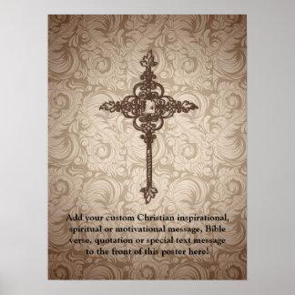 Elegant Scroll Christian Cross w/Swirl Background Poster