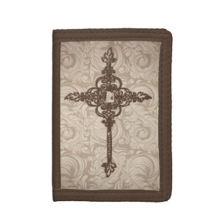 Elegant Scroll Christian Cross w/Swirl Background Trifold Wallets