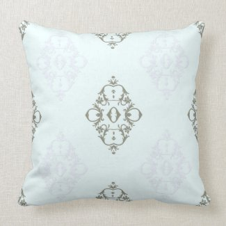 Elegant Scroll Design in Gray on Blue or Any Color Throw Pillows