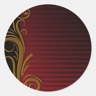 Elegant Scroll Design Round Sticker