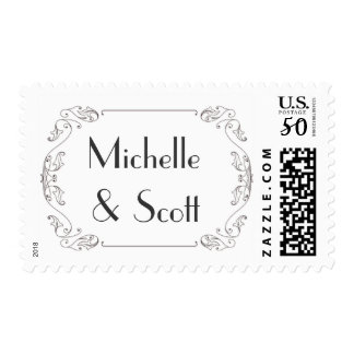 Elegant Scroll frame with customizeable text Postage