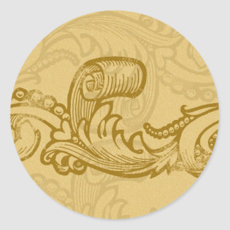 elegant scroll invitation seals classic round sticker
