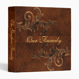 Elegant Scroll Leaf Faux Leather Family Album 3 Ring Binder