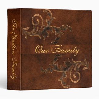 Elegant Scroll Leaf Leather Family Album Binder