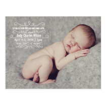 Elegant Scroll Mod baby birth announcement Postcard