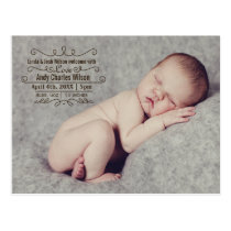 Elegant Scroll Mod baby birth announcement Postcard