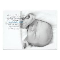 Elegant Scroll Mod Baby Boy Arrival Announcement