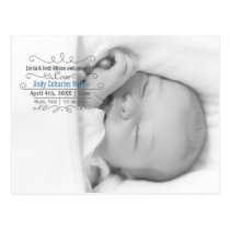 Elegant Scroll Mod Baby Boy Arrival Announcement Postcard