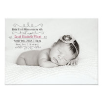 Elegant Scroll Mod Baby Girl Arrival Announcement