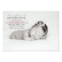 Elegant Scroll Mod Baby Girl Arrival Announcement