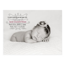 Elegant Scroll Mod Baby Girl Arrival Announcement Postcard