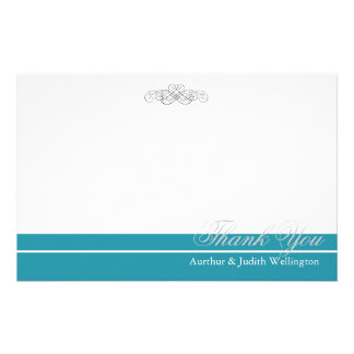 """Elegant Scroll Personalized """"Thank You"""" Stationery"""