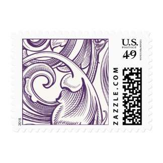 Elegant scroll postage stamp