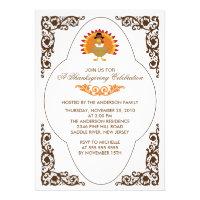 Elegant Scroll Turkey Thanksgiving Invitations