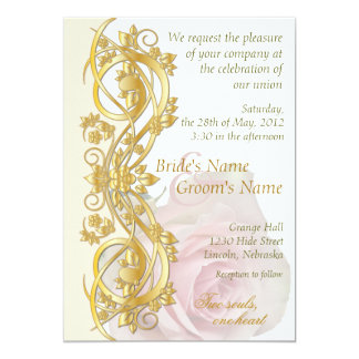 "Elegant Scroll Wedding Invitation - Gold & Rose -1 5"" X 7"" Invitation Card"