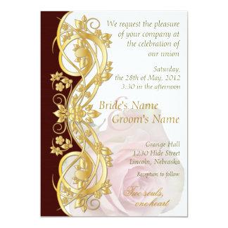 Elegant Scroll Wedding Invitation - Gold & Rose-1B