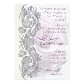 "Elegant Scroll Wedding Invitation - Lavender - 1E 5"" X 7"" Invitation Card"