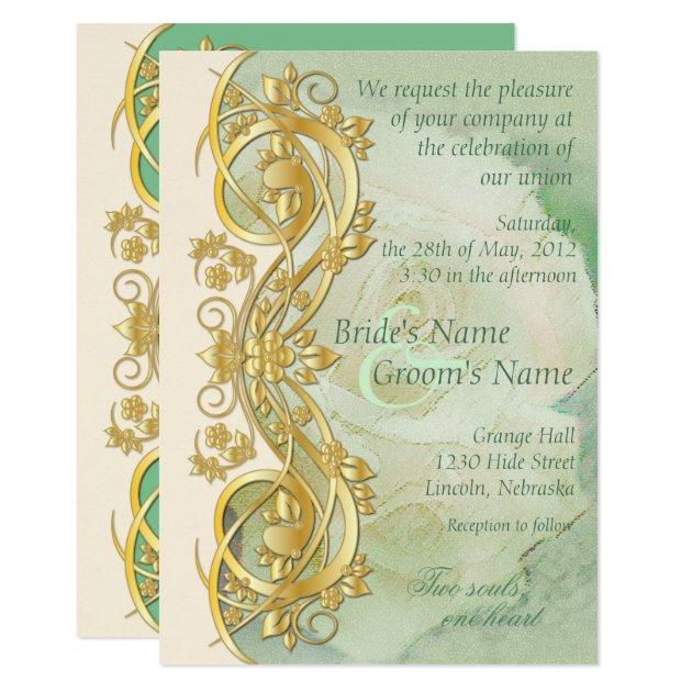 elegant scroll wedding invitation